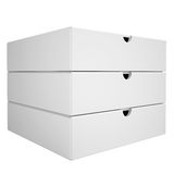 Stack of boxes from a closed pizza. Isolated render on a white background Royalty Free Stock Images