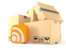 Stack of boxes with rss icon Royalty Free Stock Images