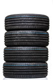 Stack of brand new high performance car tires Stock Images