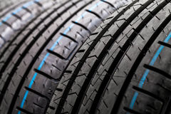 Stack of brand new high performance car tires Stock Image