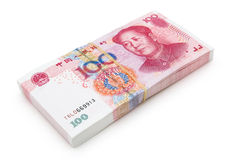 Stack of brand new RMB 100. With clipping path Royalty Free Stock Image