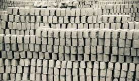 Stack of bricks around a bricks field. Unique photo stock images