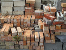 A Stack of Bricks and Concrete Blocks Royalty Free Stock Photography