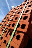 Stack of bricks at construction site. A stack of bricks at a construction site royalty free stock image