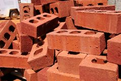 Stack of bricks at construction site Royalty Free Stock Photos