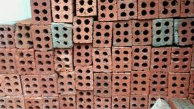 Stack of bricks. At the construction site stock footage