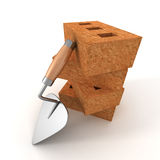 Stack of bricks with a mortar trowel on white background. 3d render illustration Royalty Free Stock Photography