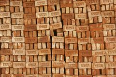 Stack of bricks for sale in Dhaka, Bangladesh. Stock Photos