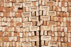Stack of bricks for sale in Dhaka, Bangladesh. Stock Image
