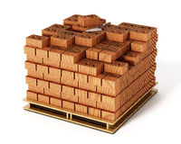Stack of bricks  on white background. 3D illustration Stock Images