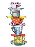 Stack of bright colored funny cups and saucers. Vector illustration stock illustration