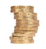 Stack of british coins Royalty Free Stock Images