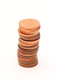 Stack of British Pennies 2. A stack of 1p coins from the United Kingdom stock images