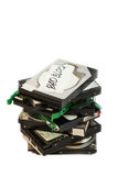 Stack of broken hard disk drives. Isolated Stock Photos