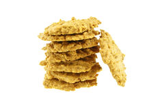 Stack of brown biscuit isolated Royalty Free Stock Images