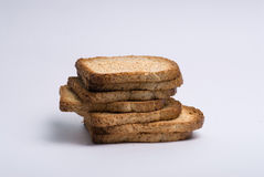Stack of Brown Bread, Toasted. A pile of whole wheat or multi-grain brown bread toast Stock Images