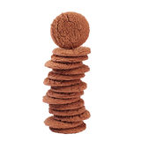 Stack of Brown chocolate chip cookies isolated Royalty Free Stock Images