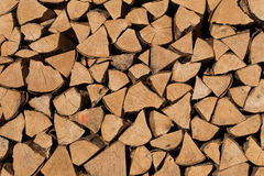 Stack of brown fire wood Royalty Free Stock Photography