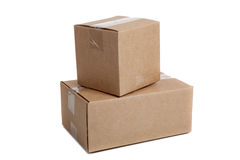Stack of packing boxes on a white background Royalty Free Stock Photography
