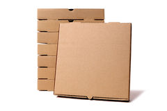 Stack of brown pizza boxes with display box Royalty Free Stock Photography