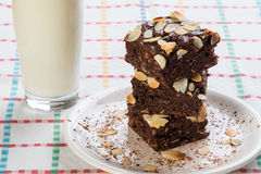 Stack of brownies on white plate Royalty Free Stock Photography