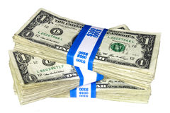 Stack of Bundled One-Dollar Notes Royalty Free Stock Images