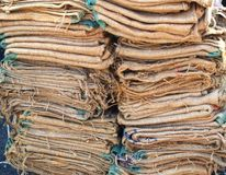 Stack of Burlap Bags Stock Photography