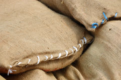 Stack of burlap bags Royalty Free Stock Photo