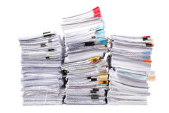 Stack of business papers isolated Royalty Free Stock Photo