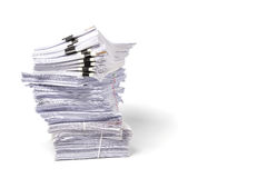 Stack of business papers isolated on white background. Stock Images
