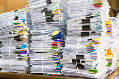 Stack of business papers. Report paper Royalty Free Stock Photos