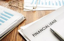 Stack of business papers with Financial lease royalty free stock photography