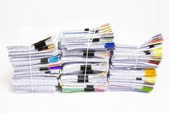 Stack of business papers. On white background Royalty Free Stock Image