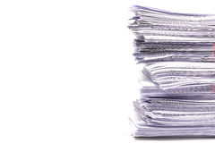 Stack of business papers  on white Stock Images