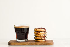 Stack of butter cookies with chocolate on a white background Royalty Free Stock Image
