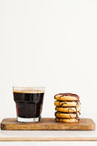Stack of butter cookies with chocolate on a white background Stock Photography