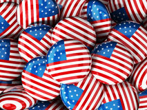 Stack of buttons with American flag. 3D illustration Stock Photos
