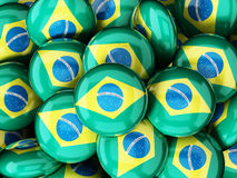 Stack of buttons with brazilian flag. 3D illustration.  Stock Photos