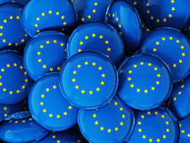 Stack of buttons with European Union's flag. 3D illustration.  Stock Image