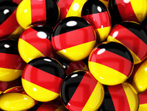 Stack of buttons with German flag. 3D illustration Royalty Free Stock Photography