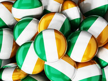 Stack of buttons with irish flag. 3D illustration Stock Images