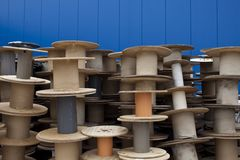 Stack of cable drums Stock Image