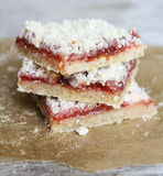 Stack of cake or cookies with plum Stock Photography