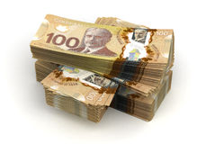 Stack of Canadian Dollar. (isolated with clipping path Royalty Free Stock Photography