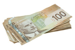 A stack of Canadian one hundred dollar bills.  Royalty Free Stock Photos