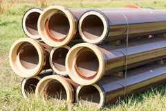 Stack of canalization pipes Stock Photo