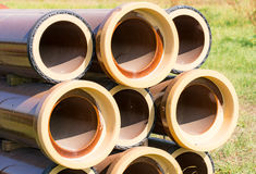 Stack of canalization pipes Stock Photography
