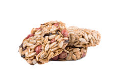 Stack of candied roasted peanuts sunflower seeds. Royalty Free Stock Photo