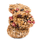 Stack of candied roasted peanuts sunflower seeds. Royalty Free Stock Image
