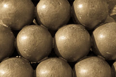 Stack of Cannon Balls Close Up Stock Photo